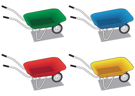 hauler: Wheelbarrow in four different colors Illustration