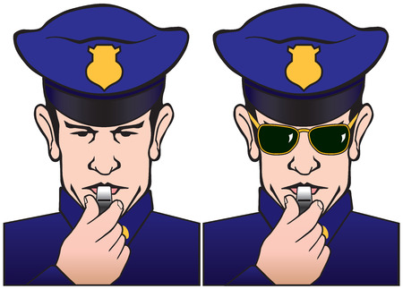 solemn: Policeman blowing whistle shown with and without sunglasses