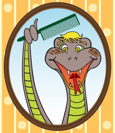 toupee: Snake holding comb with tail attempting to groom a bad hairpiece in preparation for date