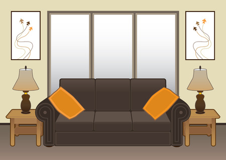 davenport: Contemporary living room with furniture and artwork Illustration