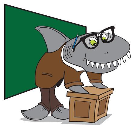 pencil cartoon: Profesor tibur�n Nerd preparar a hablar a su clase Vectores