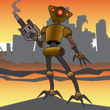 carnage: Alien robot surveying the destruction around him