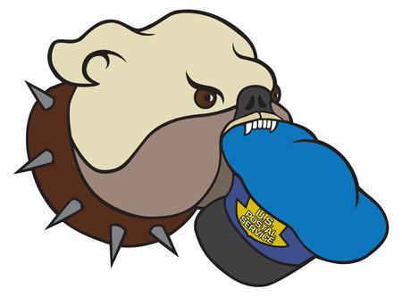 Cartoon bulldog with mail person\ Ilustrace