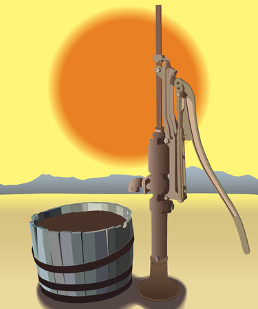 Out of use water tub and manual pump baking in desert sun