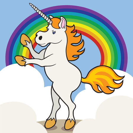 Unicorn rearing in front of rainbow and clouds