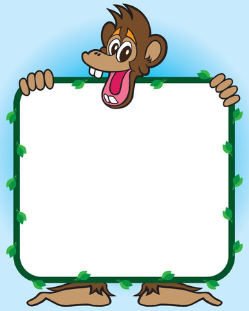 scamp: Cheerful monkey holding sign with leafy frame Illustration