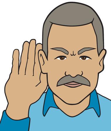 straining: Older man straining to hear
