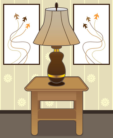 agreeable: Lamp resting on end table with paintings in background Illustration