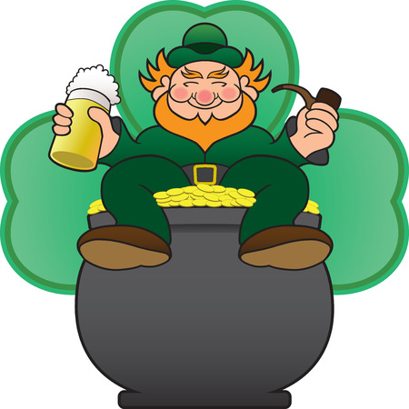 fortunate: Happy leprechaun sitting in his pot of gold, drinking a beer and smoking a pipe