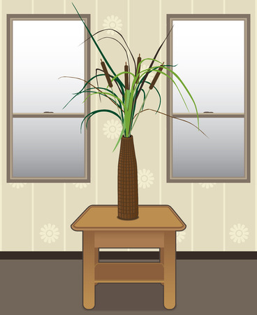 Cattails in a vase on an end table in front of windows Vectores