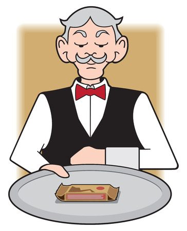 Waiter presenting tray with protein bar on it Stock Illustratie