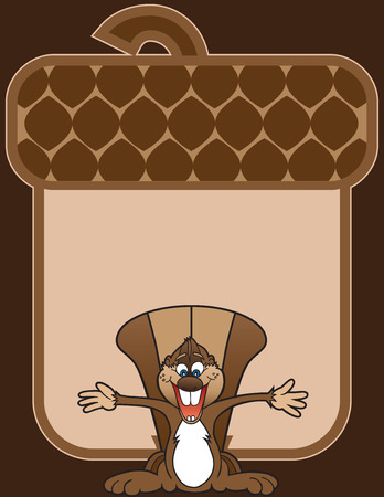 outstretched: Ecstatic cartoon squirrel standing with arms outstretched in front of giant stylized acorn