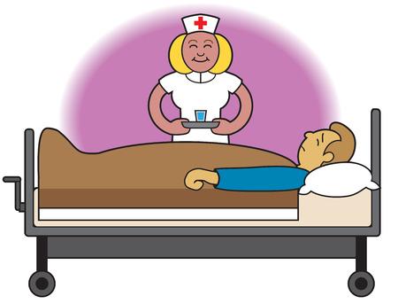 reclining: Nurse bringing medication to sick patient