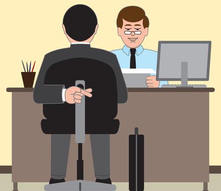 Sollicitant wanhopig om goed te doen op zijn interview Stock Illustratie