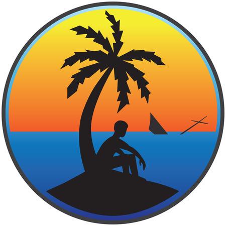 stranded: Man stranded on desert island watching his sailboat sink Illustration