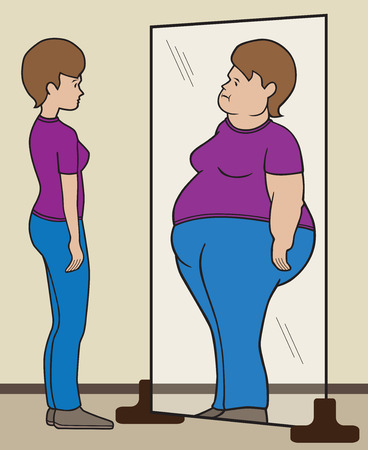 woman in mirror: Normal sized woman seeing herself as fat in mirror