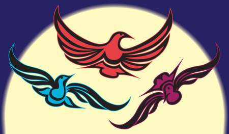Colorful, stylized birds flying in front of the moon Illustration