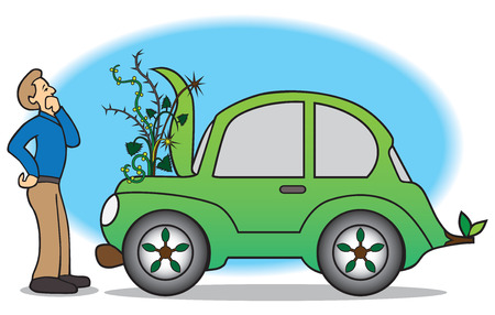 Owner of green car discovers weeds growing out of engine compartment Illustration