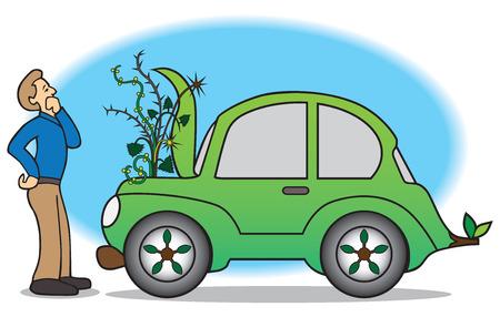 Propriétaire de voiture verte découvre mauvaises herbes qui poussent sur le compartiment moteur Banque d'images - 37205797