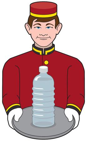 bellhop: Botones del hotel que lleva una botella de agua en la bandeja