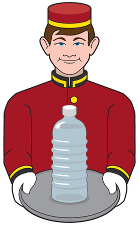 Hotel bellhop carrying bottle of water on tray