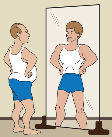 beefy: Flabby man visualizing himself as being in good shape in the mirror