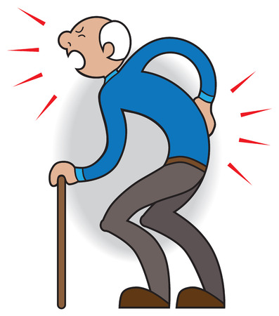weary: Elderly man with cane cries out in pain from twinge in his back Illustration