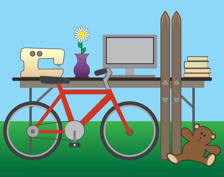 yard sale: Yard sale items on a folding table in a backyard