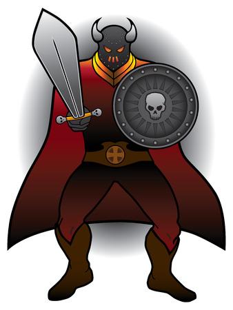 adversaire: Intimidant guerrier avec �p�e et bouclier pr�t pour la bataille