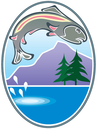 Trout jumping from lake with trees and mountain in the background Ilustração