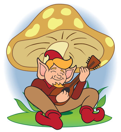 fabled: Gnome playing music under a mushroom Illustration