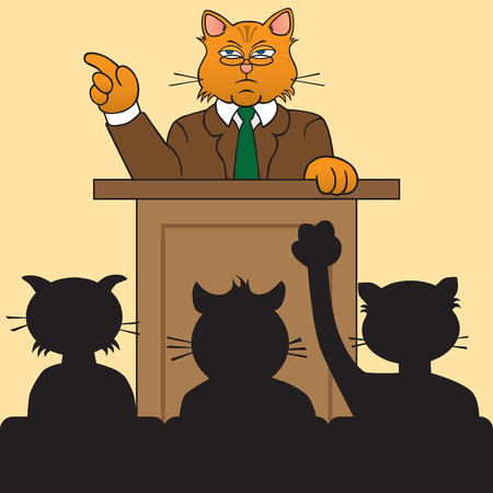orating: Pompous cat at podium taking questions from audience