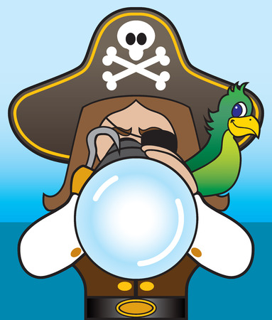 swashbuckler: Pirate with parrot on shoulder looking through telescope Illustration