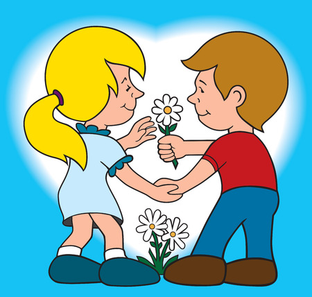 endearment: Boy giving girl a flower to show his affection
