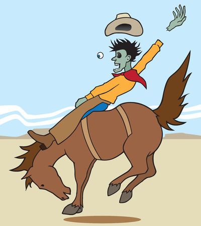 spoof: Zombie cowboy on bucking bronco with parts flying off