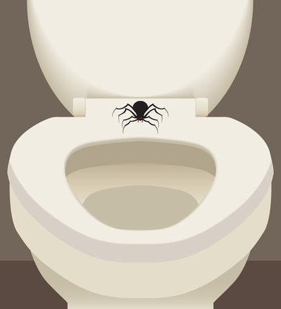 Large scary spider resting on toilet seat Vector