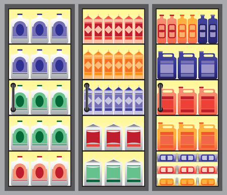 Refrigerated supermarket display case full of different types of beverages 向量圖像