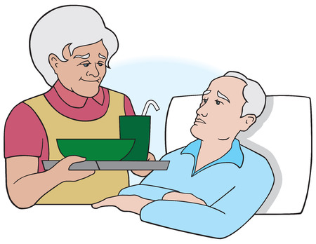 bringing: Elderly woman bringing meal to sick elderly man in bed