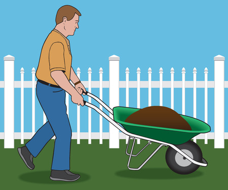 endeavor: Man pushing wheelbarrow load of dirt through yard