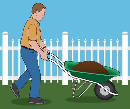 Man pushing wheelbarrow load of dirt through yard
