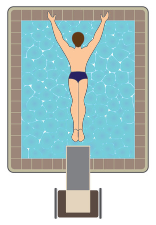 Bird's eye view of man diving off platform into swimming pool