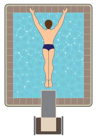 Birds eye view of man diving off platform into swimming pool