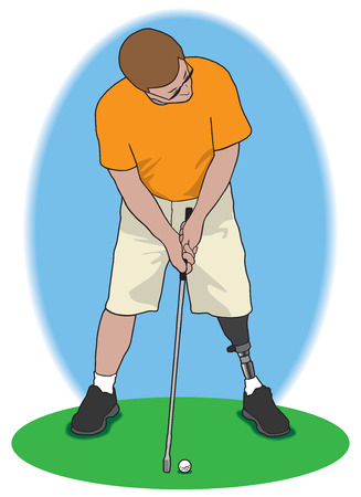 metal legs: Amputee golfer about to attempt a long putt Illustration