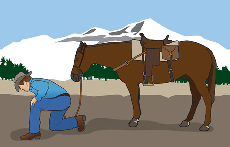 clues: Dismounted cowboy tracker looking for clues on the ground Illustration