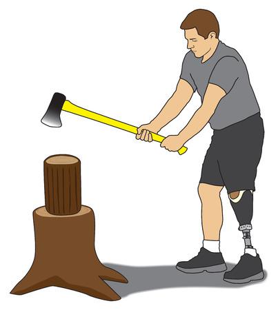 Leg amputee splitting firewood with axe Vettoriali