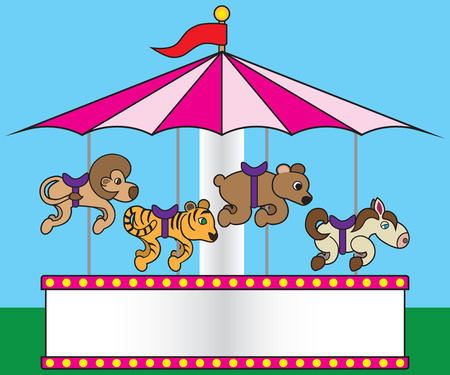 Carnival carousel featuring lions tigers bears and ponies