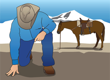 clues: Dismounted cowboy tracker looking for clues Illustration