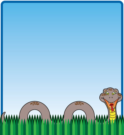 forked tail: Smiling, happy cartoon snake in the grass