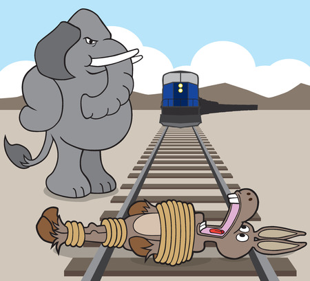 tied: Republican elephant has just tied democrat donkey to the railroad tracks