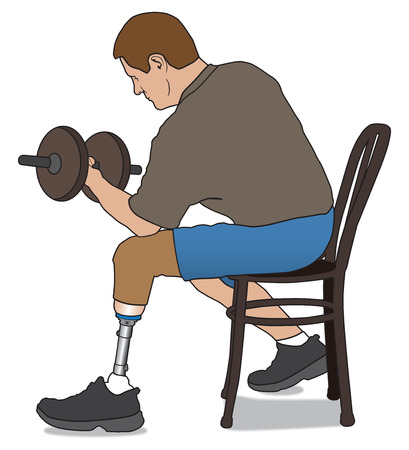 amputee: Leg amputee working out with weight Illustration